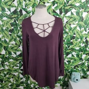 AEO Soft and Sexy Lattice Cut Out Top